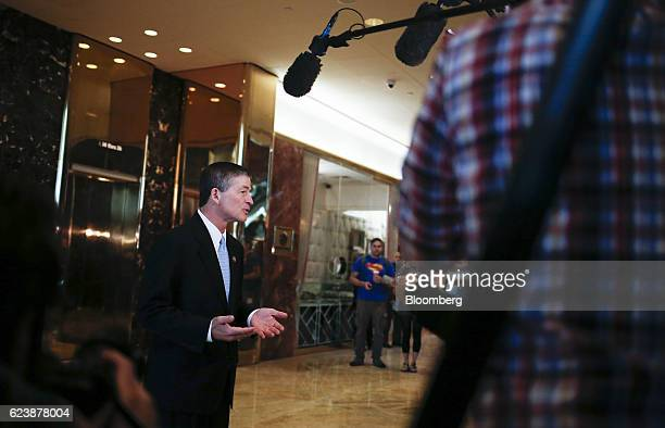 Representative Jeb Hensarling a Republican from Texas speaks to members of the media in the lobby of Trump Tower in New York US on Thursday Nov 17...