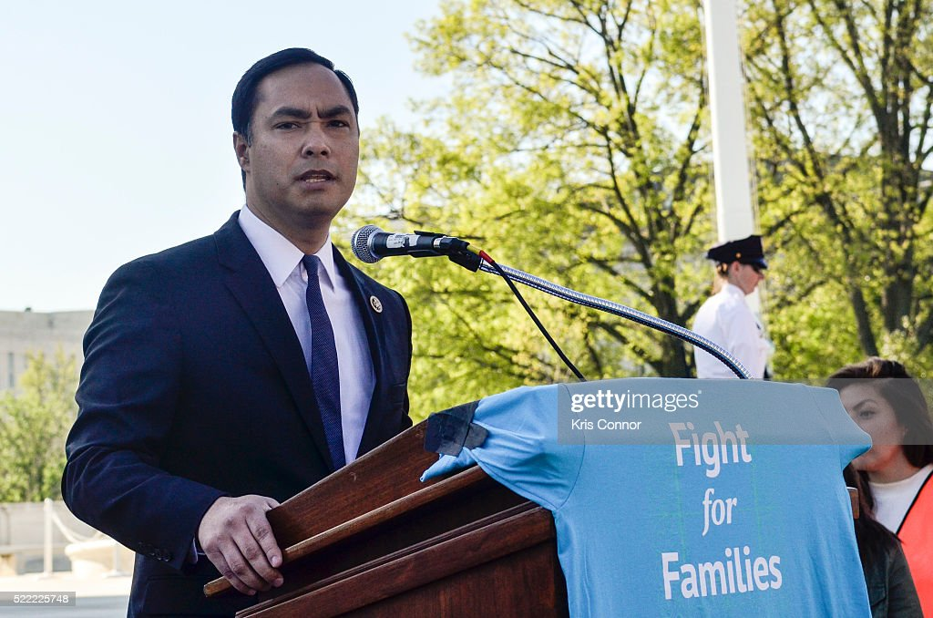 Representative Joaquin Castro (D-TX20) speaks during the Fight For Families Rally in front of the Supreme Court of the United States on April 18, 2016 in Washington, DC.
