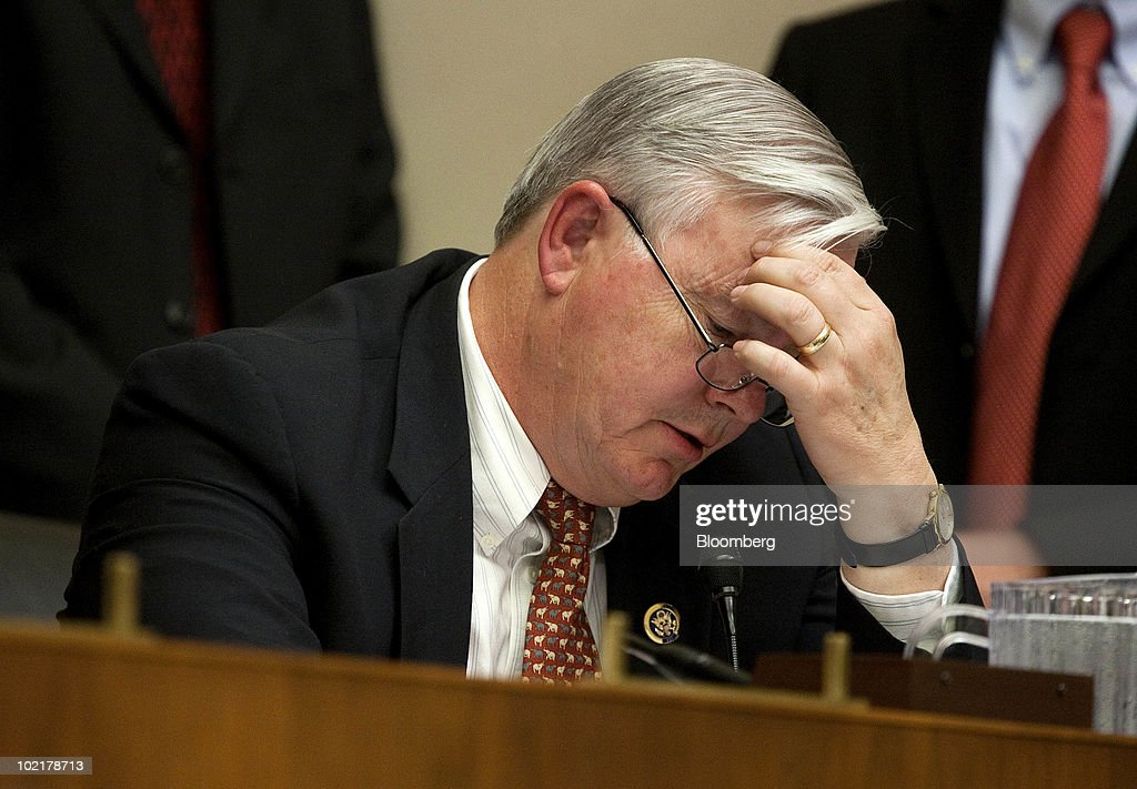 Representative <a gi-track='captionPersonalityLinkClicked' href=/galleries/search?phrase=Joe+Barton&family=editorial&specificpeople=653902 ng-click='$event.stopPropagation()'>Joe Barton</a>, a Republican from Texas, pauses while questioning Tony Hayward, chief executive officer of BP Plc, during a House Energy and Commerce Committee hearing on the accident in the Gulf of Mexico involving the BP Deepwater Horizon rig in Washington, D.C., U.S., on Thursday, June 17, 2010. Barton retracted his apology to Hayward and apologized for describing as a 'shakedown' the $20 billion fund the company agreed to create to pay damages for the Gulf of Mexico oil spill. Photographer: Joshua Roberts/Bloomberg via Getty Images