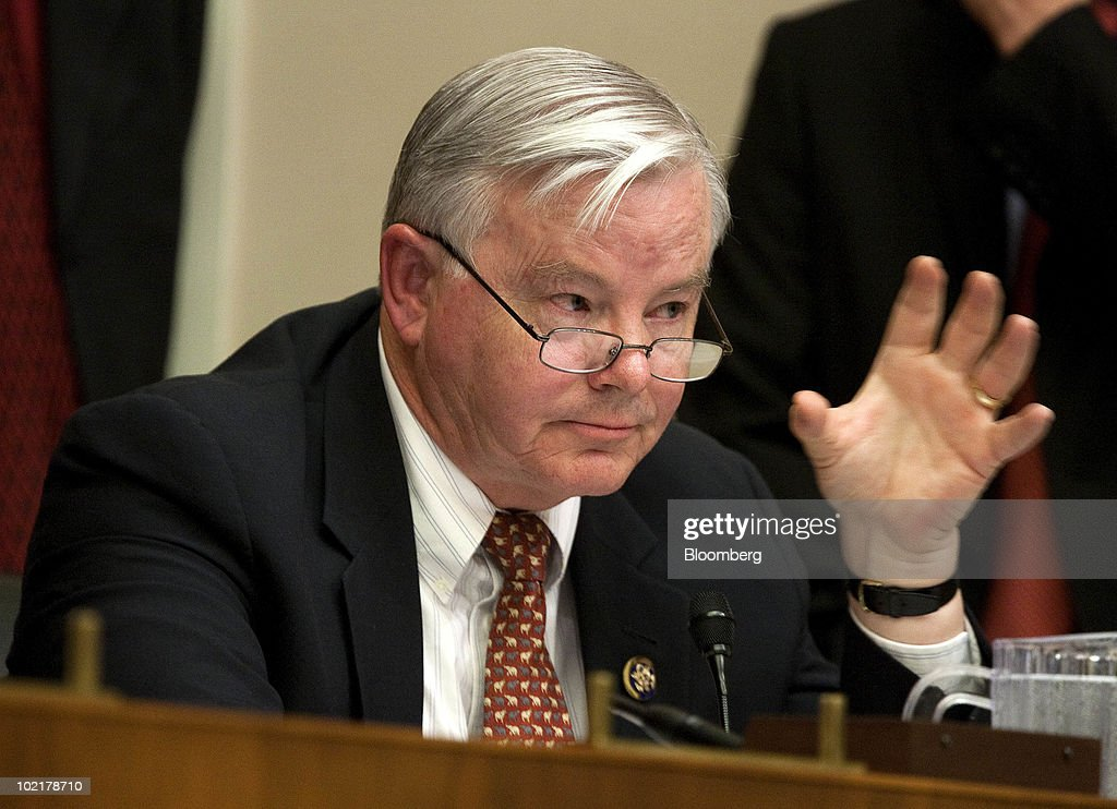 Representative <a gi-track='captionPersonalityLinkClicked' href=/galleries/search?phrase=Joe+Barton&family=editorial&specificpeople=653902 ng-click='$event.stopPropagation()'>Joe Barton</a>, a Republican from Texas, questions Tony Hayward, chief executive officer of BP Plc, during a House Energy and Commerce Committee hearing on the accident in the Gulf of Mexico involving the BP Deepwater Horizon rig in Washington, D.C., U.S., on Thursday, June 17, 2010. Barton retracted his apology to Hayward and apologized for describing as a 'shakedown' the $20 billion fund the company agreed to create to pay damages for the Gulf of Mexico oil spill. Photographer: Joshua Roberts/Bloomberg via Getty Images