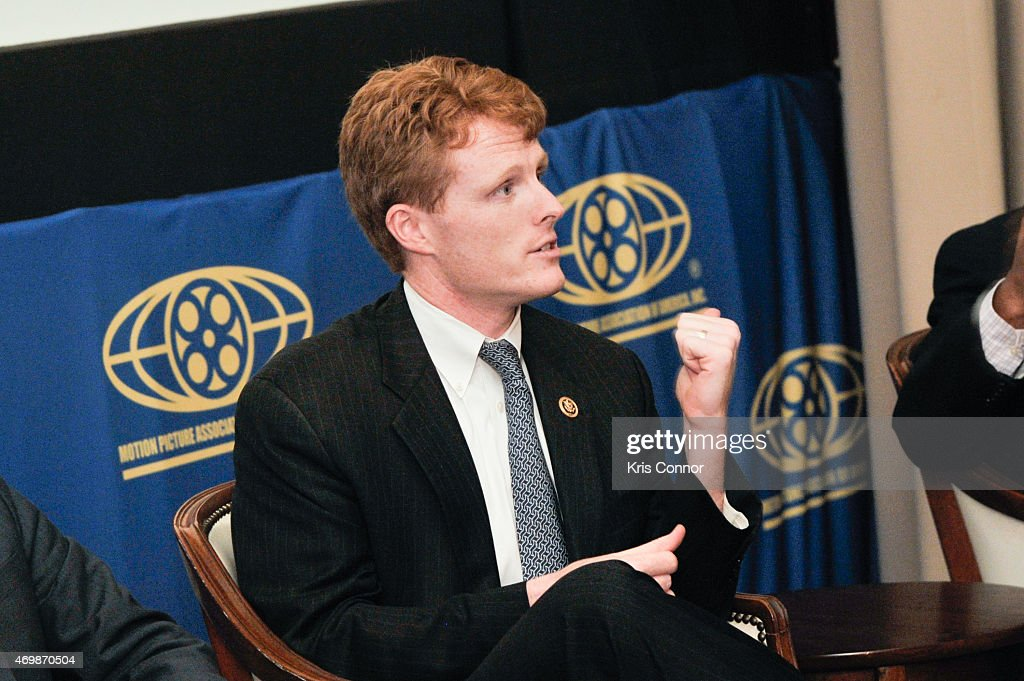 Representative Joe Kennedy(D-Mass) speaks during a panel discussion after a screening of 'Underwater Dreams' presented by Viacom and EPIX at the Motion Picture Association of America on April 15, 2015 in Washington DC.