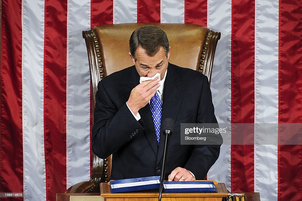 Representative <a gi-track='captionPersonalityLinkClicked' href=/galleries/search?phrase=John+Boehner&family=editorial&specificpeople=274752 ng-click='$event.stopPropagation()'>John Boehner</a>, a Republican from Ohio, reacts with emotion while delivering remarks after being elected to a second term as Speaker of the House at the U.S. Capitol in Washington, D.C., U.S., on Thursday, Jan. 3, 2013. The 113th Congress convenes today in Washington where new members will try to meld their diverse backgrounds in a legislature containing a record seven openly gay lawmakers, an unprecedented 20 women in the Senate and the first all-female state delegation, from New Hampshire. Photographer: Pete Marovich/Bloomberg via Getty Images