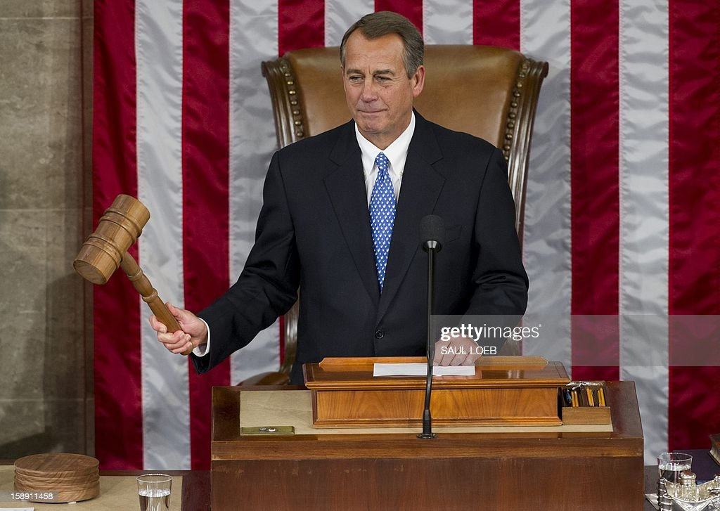 US Representative John Boehner, Republican of Ohio, gavels the House to order after being re-elected as Speaker of the House during the opening session of the 113th US House of Representatives at the US Capitol in Washington, DC, on January 3, 2013. AFP PHOTO / Saul LOEB