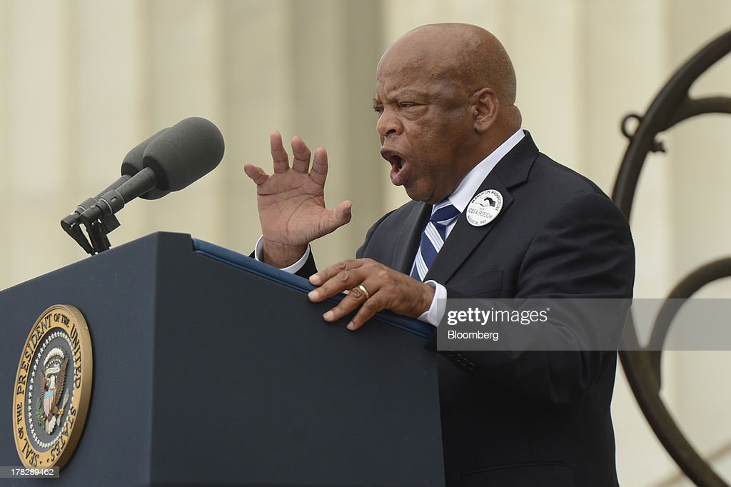 Representative John Lewis, a Democratic from Georgia, speaks during the Let Freedom Ring commemoration event at the Lincoln Memorial in Washington, D.C., U.S., on Wednesday, Aug. 28, 2013. U.S. President Barack Obama, speaking from the same Washington stage where Martin Luther King Jr. delivered a defining speech of the civil rights movement, said that even as the nation has been transformed, work remains in countering growing economic disparities. Photographer: Michael Reynolds/Pool via Bloomberg