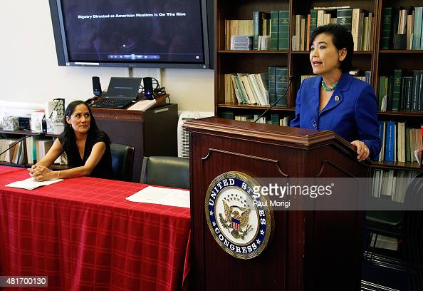 Representative Judy Chu and Sakina Jaffrey speak during a briefing on 'The Impact of AntiMuslim Bigotry' presented by The Congressional Progressive...