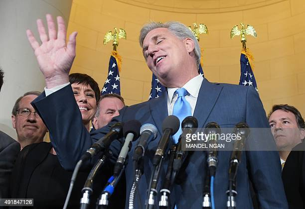 Representative Kevin McCarthy RCA speaks following the Republican nomination election for House speaker in the Longworth House Office Building on...