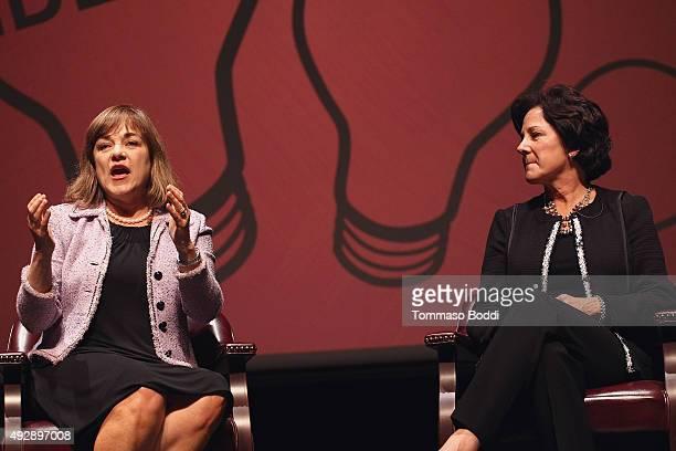 S Representative Loretta Sanchez and Chairman Aspen Institute Monica Lozano attend the Latino In America held at Occidental College on October 15...