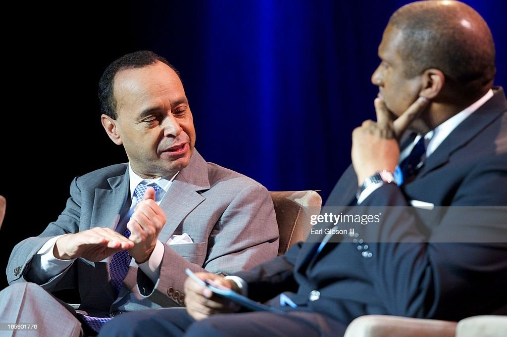 U.S Representative Luis Gutierrez and <a gi-track='captionPersonalityLinkClicked' href=/galleries/search?phrase=Tavis+Smiley&family=editorial&specificpeople=649798 ng-click='$event.stopPropagation()'>Tavis Smiley</a> discuss the state of America at the 'Latino Nation Beyond the Numbers' event at Jones Convocation Center at Chicago State University on April 6, 2013 in Chicago, Illinois.