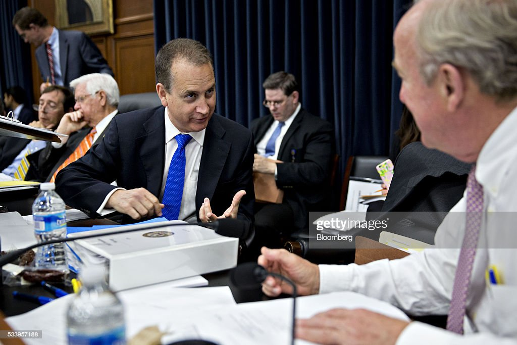 Representative Mario Diaz-Balart, a Republican from Florida, left, speaks with Rodney Frelinghuysen, a Republican from New Jersey, right, before the start of a House Appropriations Committee markup in Washington, D.C., U.S., on Tuesday, May 24, 2016. The committee was meeting on the markup of the FY2017 Commerce, Justice and Science bill and the FY 2017 Transportation, Housing and Urban Development Appropriations bill. Photographer: Andrew Harrer/Bloomberg via Getty Images