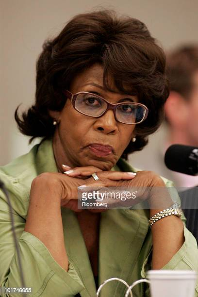 Representative Maxine Waters a Democrat from California listens to testimony during a hearing of the House Judiciary Committee on the proposed...
