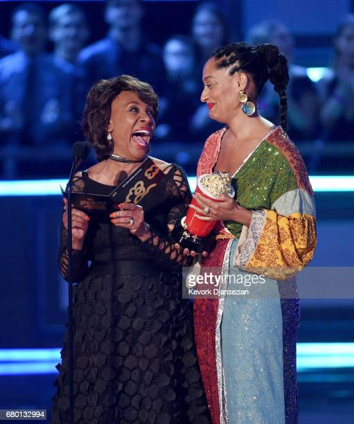 S Representative Maxine Waters and actor Tracee Ellis Ross speak onstage during the 2017 MTV Movie And TV Awards at The Shrine Auditorium on May 7...