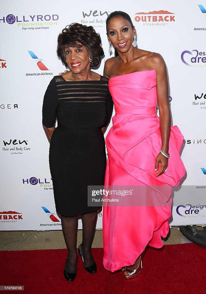 U.S. Representative <a gi-track='captionPersonalityLinkClicked' href=/galleries/search?phrase=Maxine+Waters&family=editorial&specificpeople=220525 ng-click='$event.stopPropagation()'>Maxine Waters</a> (L) and Actress <a gi-track='captionPersonalityLinkClicked' href=/galleries/search?phrase=Holly+Robinson+Peete&family=editorial&specificpeople=213716 ng-click='$event.stopPropagation()'>Holly Robinson Peete</a> (R) attend the 15th annual DesignCare charity event on July 27, 2013 in Malibu, California.