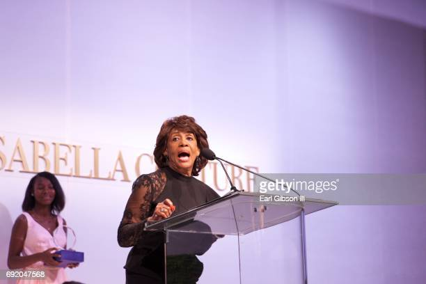 S Representative Maxine Waters speaks onstage at the Ladylike Foundation's 9th Annual Women Of Excellence Awards Gala at The Beverly Hilton Hotel on...