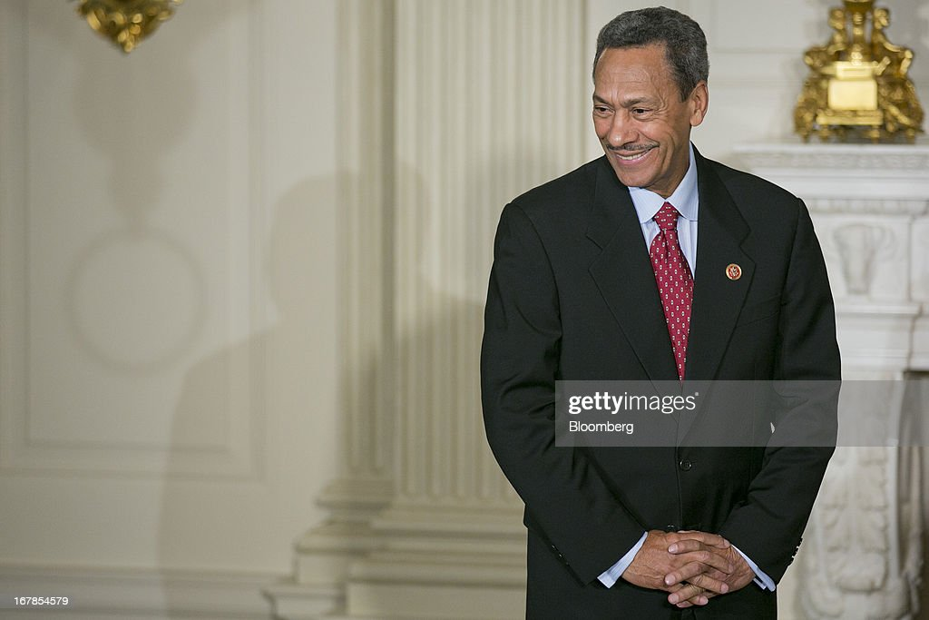 Representative Mel Watt, a Democrat from North Carolina and U.S. President Barack Obama's nominee as director of the Federal Housing Finance Agency (FHFA), listens as Obama, not pictured, makes the announcement in the State Dining Room of the White House in Washington, D.C., U.S. on Wednesday, May 1, 2013. Obama nominated Watt to be director of the Federal Housing Finance Agency after months of political pressure from consumer advocates to find a new overseer for Fannie Mae and Freddie Mac. Photographer: Andrew Harrer/Bloomberg via Getty Images