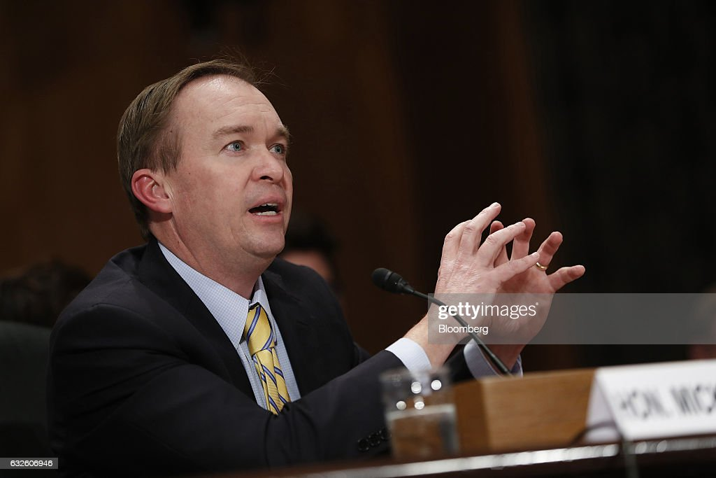 Representative Mick Mulvaney, a Republican from South Carolina and Office of Management and Budget director nominee for U.S. President Donald Trump, testifies during a Senate Governmental Affairs Committee confirmation hearing in Washington, D.C., U.S., on Tuesday, Jan. 24, 2017. Mulvaney said Tuesday the nearly $20 trillion national debt needs to be 'addressed sooner rather than later' and that he would push Trump to break his campaign promises and cut Social Security and Medicare. Photographer: Aaron P. Bernstein/Bloomberg via Getty Images