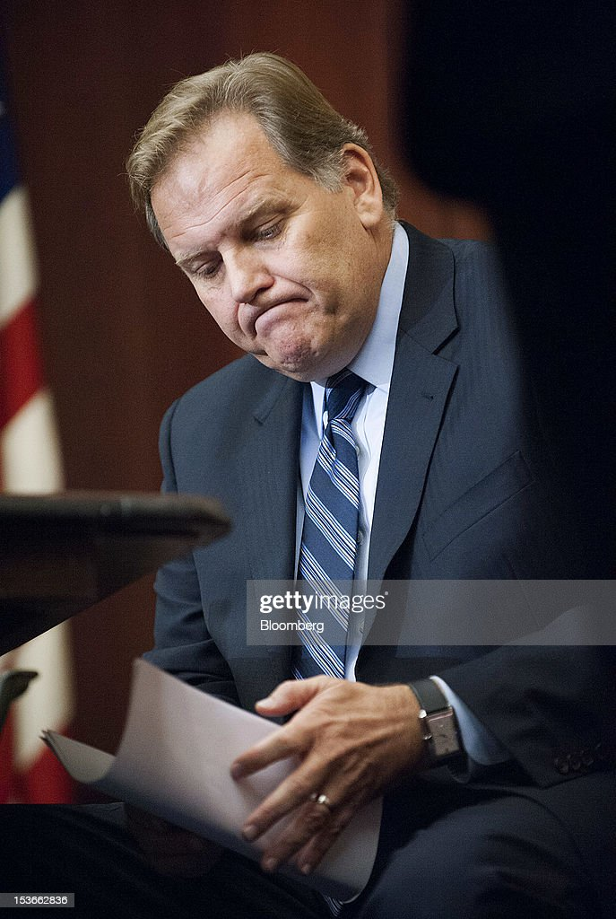 Representative Mike Rogers, a Republican from Michigan and chairman of the House Intelligence Committee, listens during a news conference in Washington, D.C., U.S., on Monday, Oct. 8, 2012. U.S. companies should avoid business with Huawei Technologies Co., China's largest phone-equipment maker, to guard against intellectual-property theft and spying, Rogers said. Photographer: Jay Mallin/Bloomberg via Getty Images