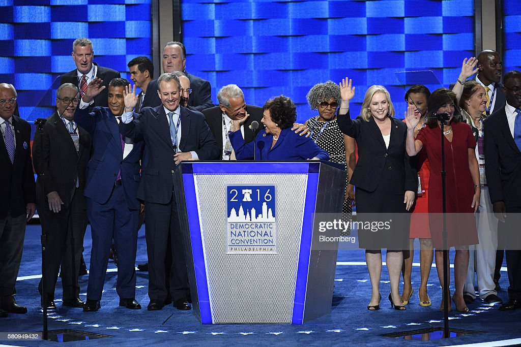 Representative Nita Lowey a Democrat from New York center is joined on stage by fellow New York politicians during the Democratic National Convention...