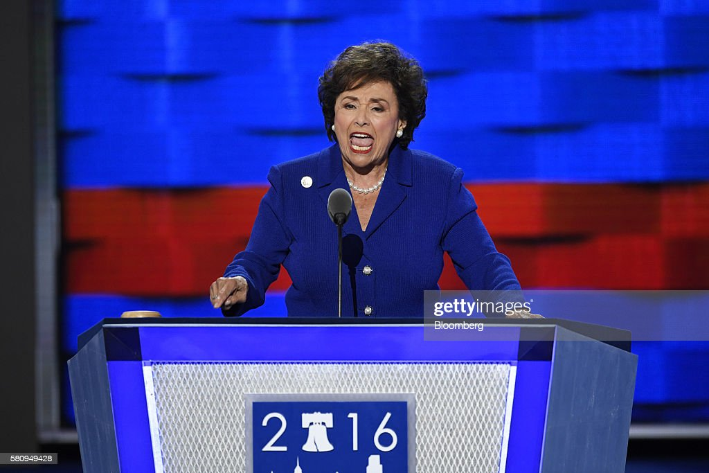 Representative Nita Lowey a Democrat from New York speaks during the Democratic National Convention in Philadelphia Pennsylvania US on Monday July 25...