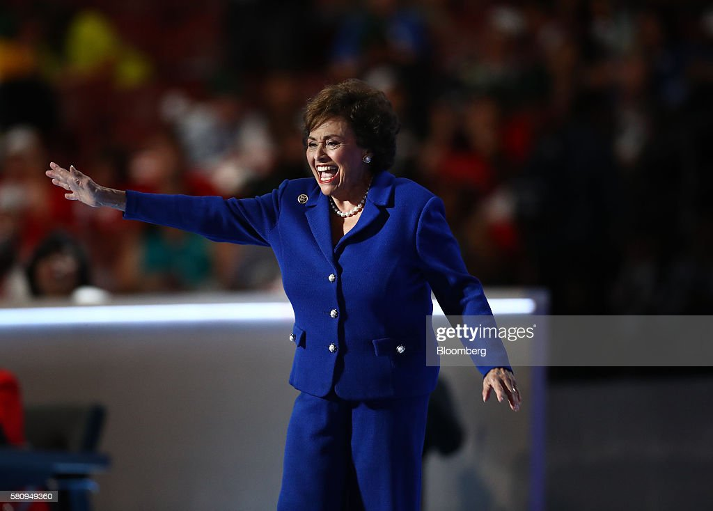Representative Nita Lowey a Democrat from New York waves while arriving on stage during the Democratic National Convention in Philadelphia...