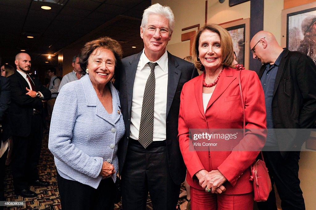 Representative Nita Lowey actor Richard Gere and Minority Leader Nancy Pelosi attend the 'Time Out Of Mind' Washington DC Screening at Landmark E...