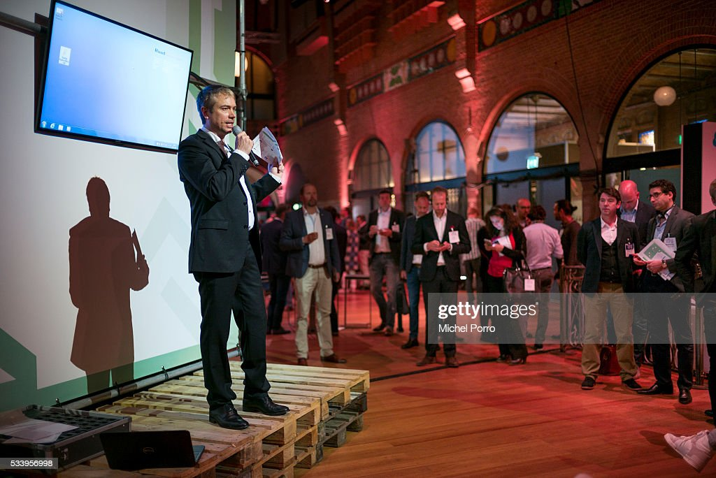 A representative of a startup company gives a one minute presentation prior to the kick-off of Startup Fest Europe on May 24, 2016 in Amsterdam, The Netherlands. The event facilitates match-making between investors and startup entrepreneurs from all over the world.