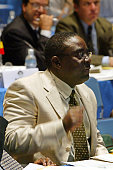 A representative of Antigua and Barbuda shows his emotion during the 54th annual meeting of the International Whaling Commission at the Kaikyo Messe...