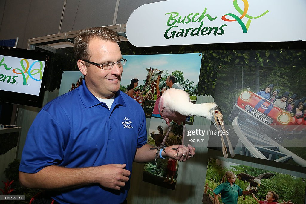 A representative of Busch Gardens holds a bird at The 10th Annual New York Times Travel Show Ribbon Cutting And Preview at Javits Center on January 18, 2013 in New York City.