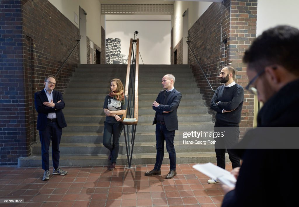 Representative of Jürgen Ponto Stiftung; Lisa Pahlke, artist; Peter Gorschlüter, acting Director and Sergey Harutoonian, curator (L-R) seen during the 'Lisa Pahlke und Richard Leue - Kopf oder Zahl' Exhibition Preview at MMK3 In Frankfurt exhibition preview at MMK 3 on December 7, 2017 in Frankfurt am Main, Germany. The exhibition opens on December 8th and runs until February 4th 2018.