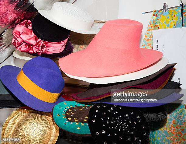 Representative of the Foundation Pierre Bergé Yves Saint Laurent Dominique Deroche's hats are photographed for Madame Figaro on July 8 2016 in Paris...