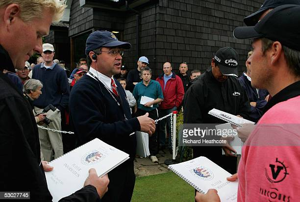 A representative of the USGA gives the nine qualifing players their US Open Player Pack after The 2005 US Open Qualifier held at Walton Heath Golf...