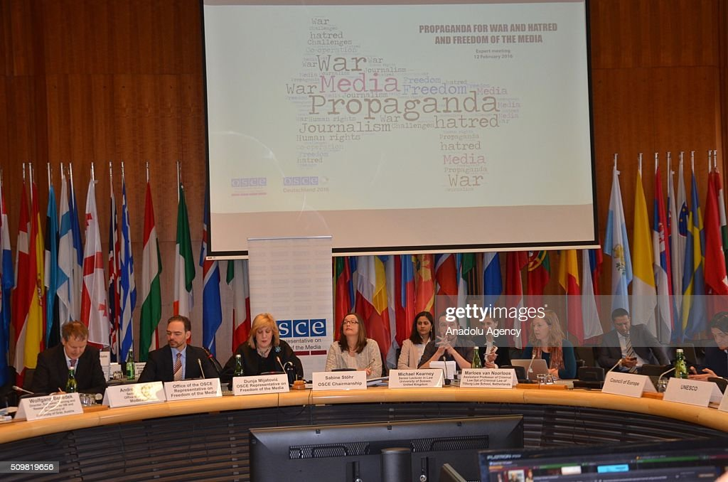 Representative on Freedom of the Media Dunja Mijatovic (L 3) attends one-day expert panel entitled Propaganda for War and Hatred and Freedom of the Media' in Vienna, Austria on February 12, 2016.