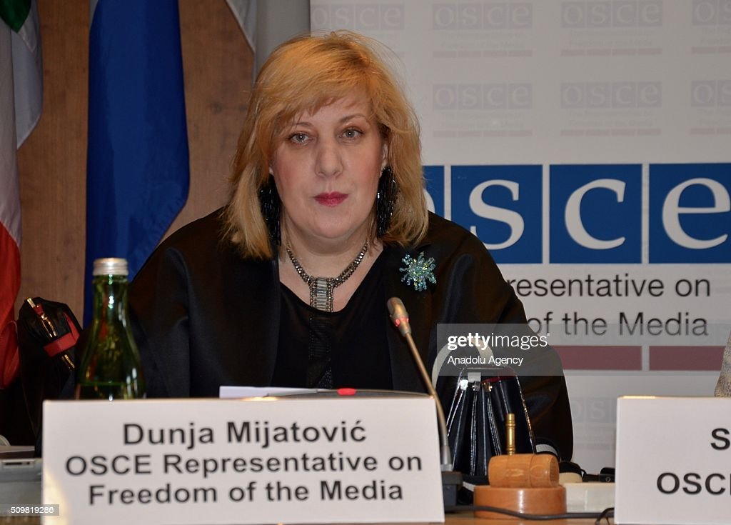 Representative on Freedom of the Media Dunja Mijatovic delivers a speech during a one-day expert panel entitled Propaganda for War and Hatred and Freedom of the Media' in Vienna, Austria on February 12, 2016.