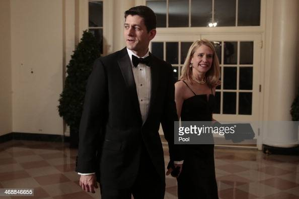Representative Paul Ryan a Republican from Wisconsin left and Janna Ryan arrive to a state dinner hosted by US President Barack Obama and US first...
