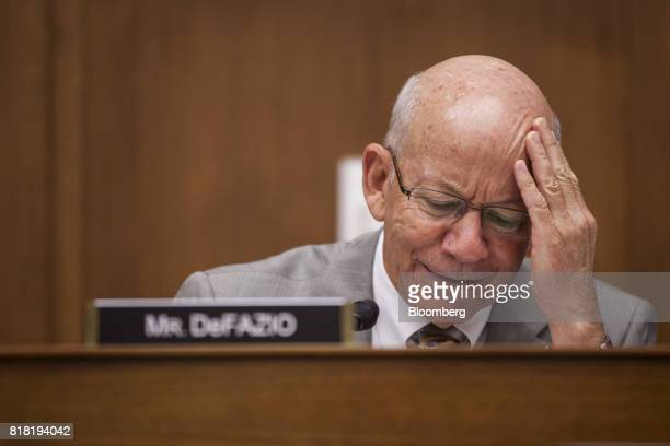 Representative Peter DeFazio a Democrat from Oregon and ranking member of the House Transportation and Infrastructure Committee pauses while speaking...