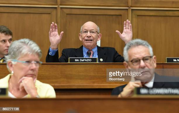 Representative Peter DeFazio a Democrat from Oregon and ranking member of the House Transportation and Infrastructure Committee gestures while...