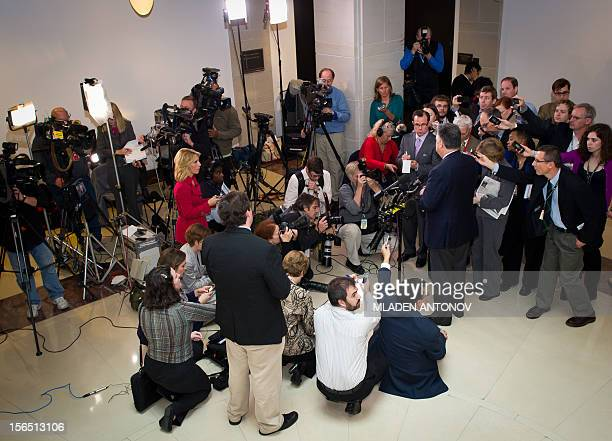 Representative Peter King of New York speaks with reporters after the House Intelligence Committee conducted a hearing on Benghazi with testimony by...