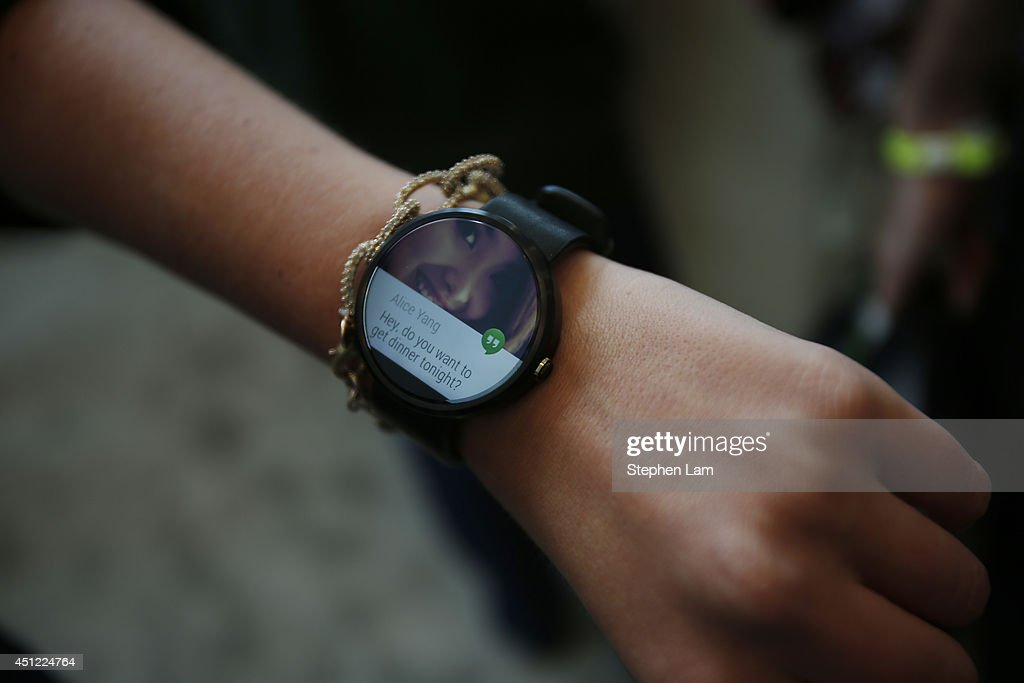 A representative presents a Motorola Moto 360 watch is seen during the Google I/O Developers Conference at Moscone Center on June 25, 2014 in San Francisco, California. The seventh annual Google I/O Developers conference is expected to draw thousands through June 26.