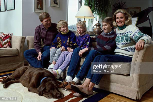 Representative Richard Gephardt sits with his children Chrissy Kathy Matt his wife Jane and their dog Rouge Gephardt is running for the Democratic...