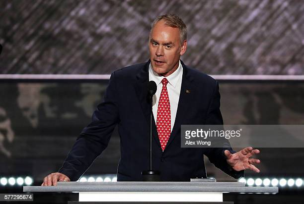 S Representative Ryan Zinke delivers a speech on the first day of the Republican National Convention on July 18 2016 at the Quicken Loans Arena in...