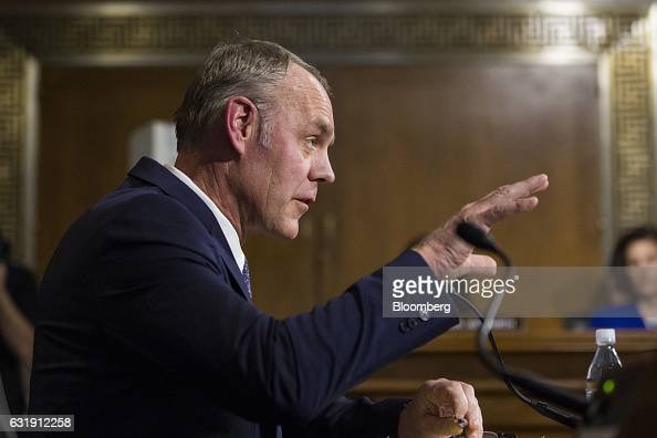 Representative Ryan Zinke US secretary of interior nominee for presidentelect Donald Trump speaks during a Senate Energy and Natural Resources...