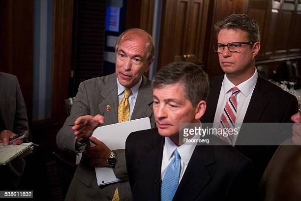 Representative Scott Garrett a Republican from New Jersey from left Representative Jeb Hensarling a Republican from Texas and chairman of the House...