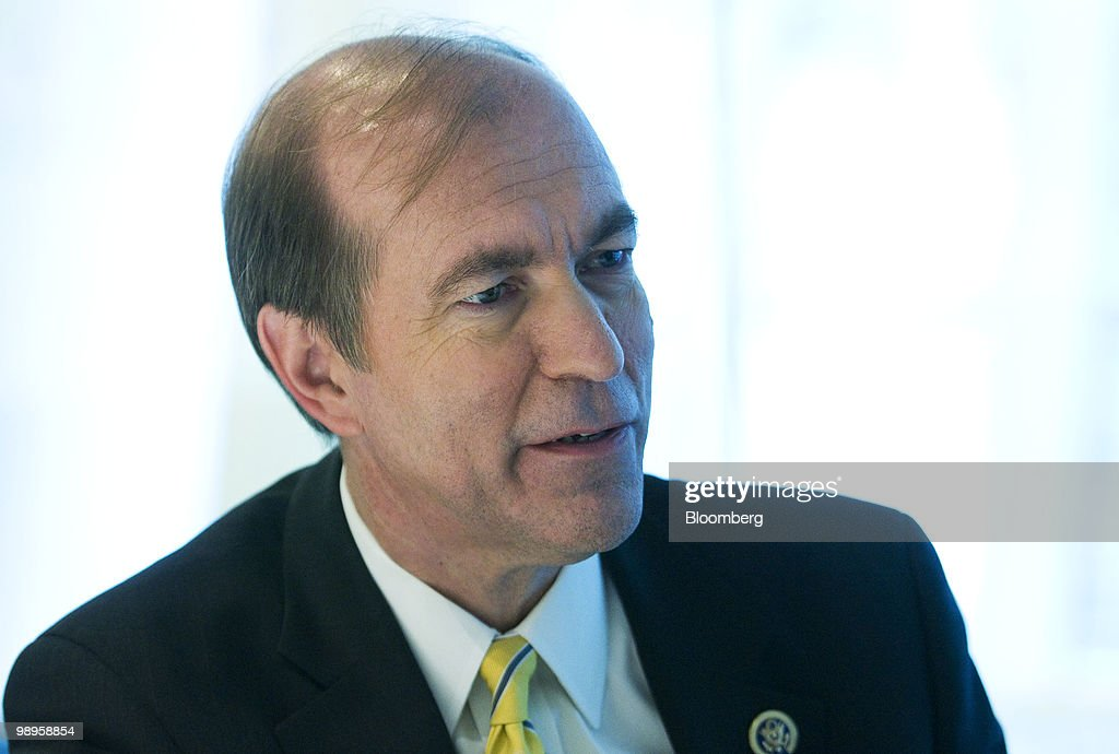 US Representative Scott Garrett a Republican from New Jersey speaks during an interview in New York US on Monday May 10 2010 Garrett who serves on...