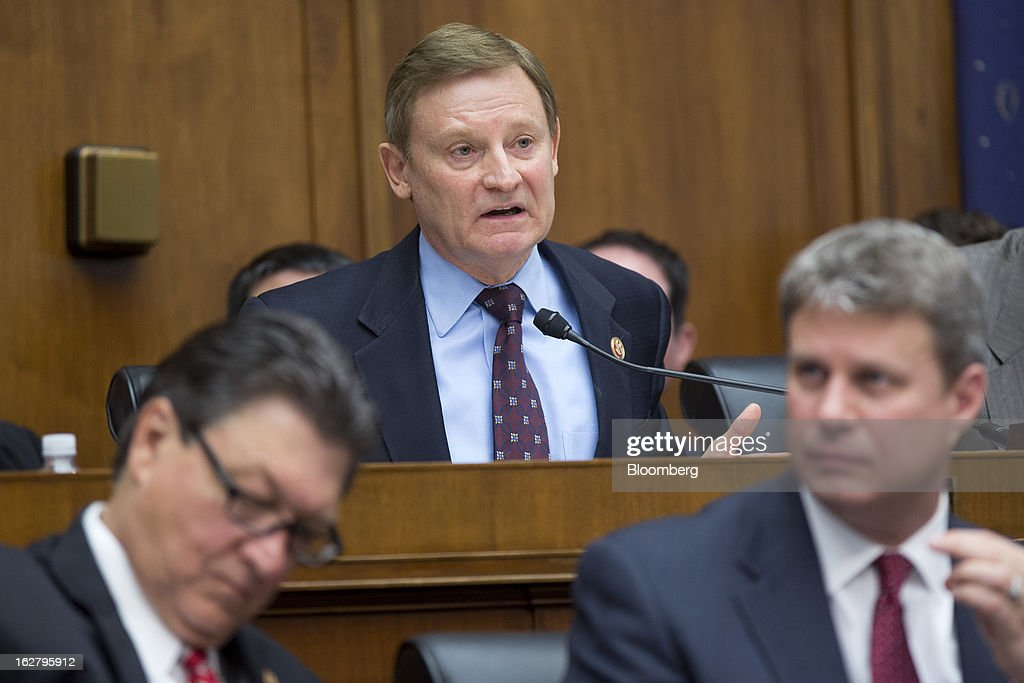 Representative Spencer Bachus, a Republican from Alabama, center, questions Ben S. Bernanke, chairman of the U.S. Federal Reserve, not pictured, during a House Financial Services Committee hearing in Washington, D.C., U.S., on Wednesday, Feb. 27, 2013. Bernanke signaled the Fed is prepared to keep buying bonds at its present pace as he dismissed concerns record easing risks sparking inflation or fueling asset price bubbles. Photographer: Andrew Harrer/Bloomberg via Getty Images