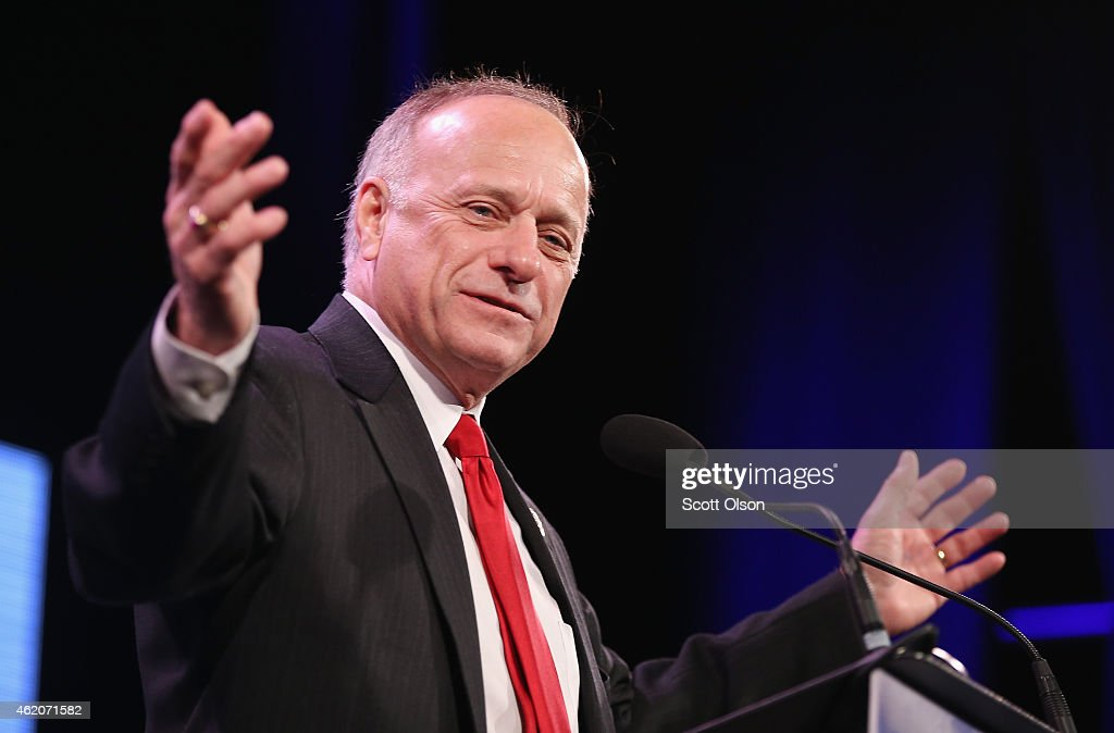S Representative Steve King speaks to guests at the Iowa Freedom Summit on January 24 2015 in Des Moines Iowa The summit is hosting a group of...