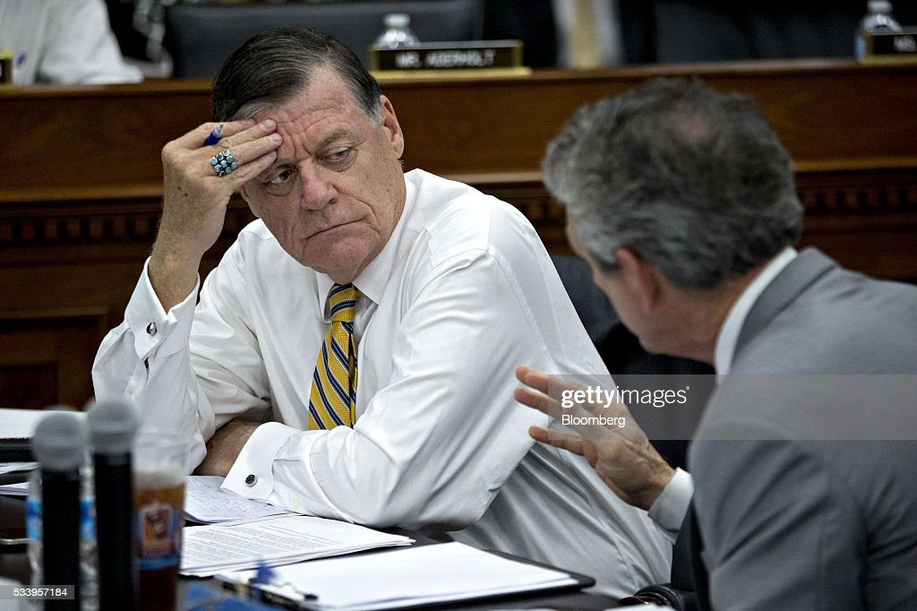 Representative Tom Cole, a Republican from Oklahoma, left, waits to begin a House Appropriations Committee markup in Washington, D.C., U.S., on Tuesday, May 24, 2016. The committee was meeting on the markup of the FY2017 Commerce, Justice and Science bill and the FY 2017 Transportation, Housing and Urban Development Appropriations bill. Photographer: Andrew Harrer/Bloomberg via Getty Images