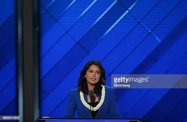 Representative Tulsi Gabbard a Democrat from Hawaii speaks during the Democratic National Convention in Philadelphia Pennsylvania US on Tuesday July...