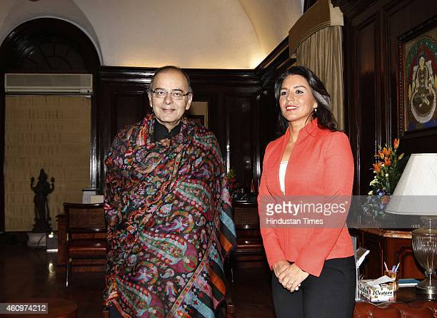 US representative Tulsi Gabbard an American politician and member of the Democratic Party meets Union Finance Minister Arun Jaitley to boost economic...