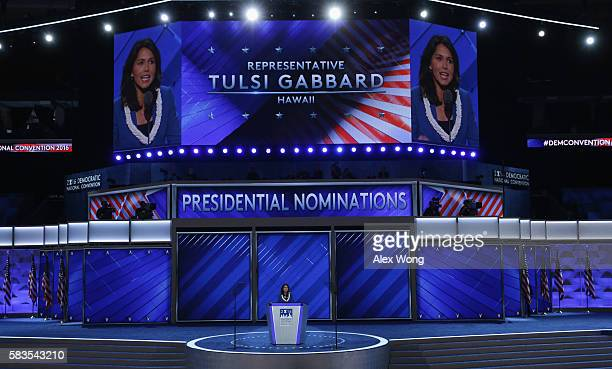 US representative Tulsi Gabbard delivers remarks on the second day of the Democratic National Convention at the Wells Fargo Center July 26 2016 in...