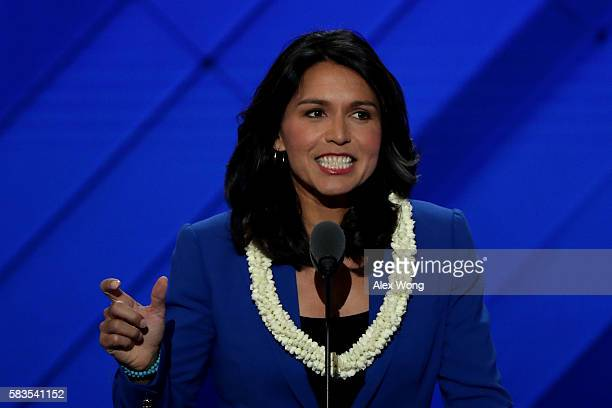 US representative Tulsi Gabbard on the second day of the Democratic National Convention at the Wells Fargo Center July 26 2016 in Philadelphia...