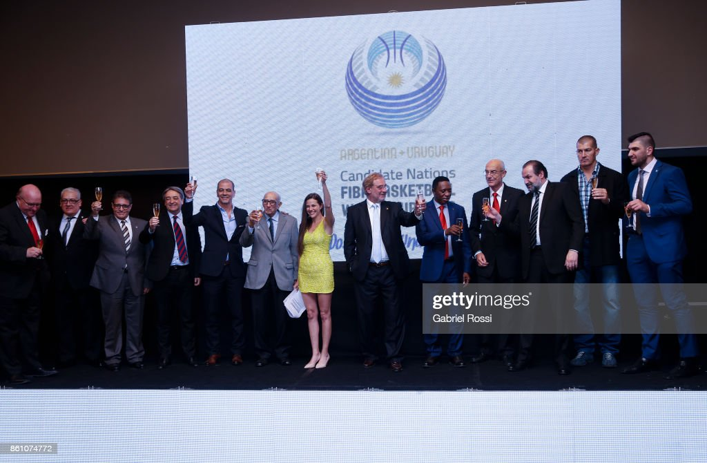 FIBA representatives, Argentine and Uruguayan Basketball Federation Presidents, and former players toast during the closure of the final presentation of Argentina-Uruguay Candidacy For FIBA World Cup 2023 at NH Hotel on October 12, 2017 in Buenos Aires, Argentina.